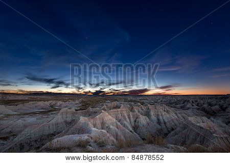 Постер, плакат: Constellation Of Ursa Major Over Badlands, холст на подрамнике