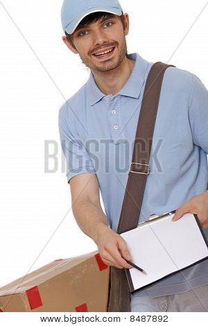 Delivery Man Bringing Package