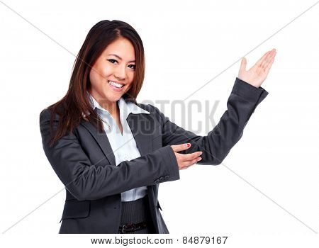 Chinese Business woman presenting copy space background