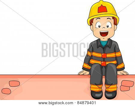 Illustration of a Little Boy Dressed as a Firefighter Sitting on a Brick Wall