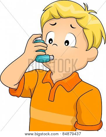 Illustration of a Sickly Boy Using an Inhaler