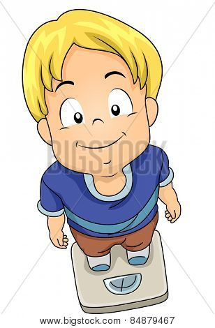Illustration of a Little Boy Standing on a Weighing Scale