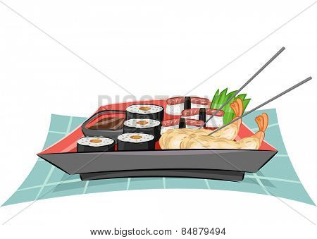 Illustration of a Platter Full of Tempura, Sushi and California Maki