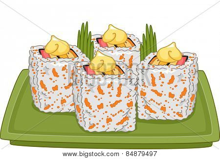 Illustration of a Platter Full of Appetizing California Maki