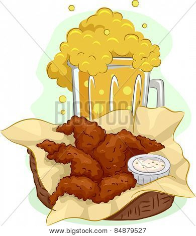 Illustration of a Mug Overflowing With Beer and a Basket Full of Buffalo Wings
