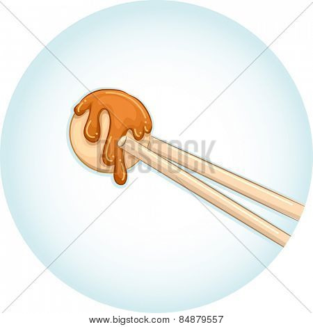 Illustration of a Pair of Chopsticks Holding a Piece of Takoyaki