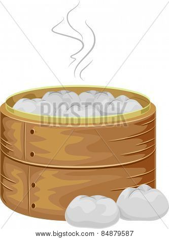 Illustration of a Bamboo Steamer Filled With Steaming Hot Meat Buns