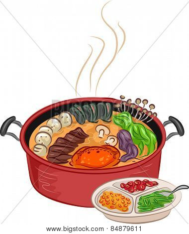 Illustration of a Steaming Hot Pot With Additional Ingredients Sitting Beside It