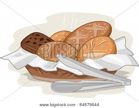 Illustration of a Basket Full of Bread Fresh Off the Oven