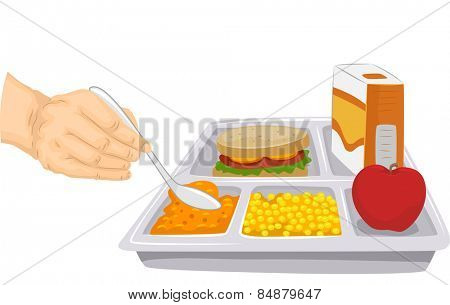 Cropped Illustration of a Person Scooping Out a Portion of a Food From a Balanced Meal