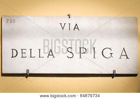 Via della Spiga ensign in Milan