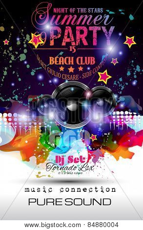 Disco Night Club Flyer layout with Speaker shape and music themed elements to use for Event Poster, Club advertisement, Night Contest promotions and Invitations.