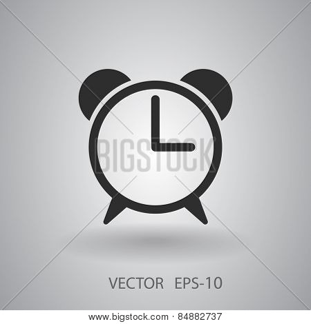 Flat icon of alarm clock