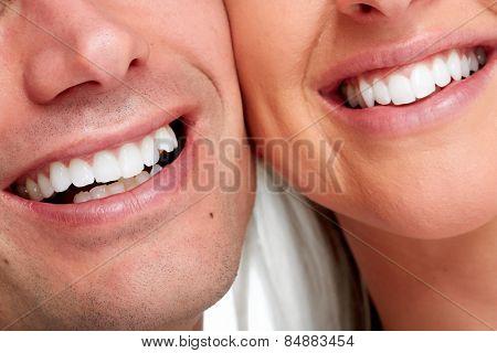 People smile. Happy loving couple healthy teeth.
