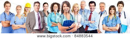 Medical doctor woman over business group background