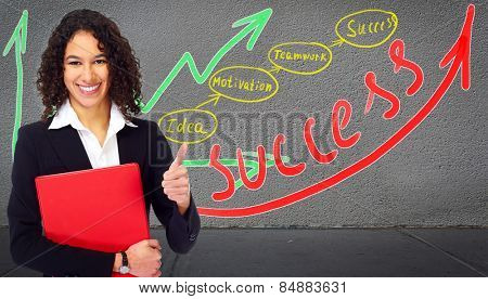 Young businesswoman near business scheme background.