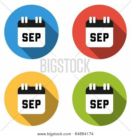 Collection Of 4 Isolated Flat Colorful Buttons For September (calendar Icon)