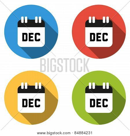 Collection Of 4 Isolated Flat Colorful Buttons For December (calendar Icon)