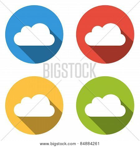 Collection Of 4 Isolated Flat Colorful Buttons For Cloud With Long Shadow