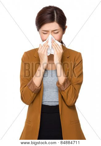 Business woman sneeze