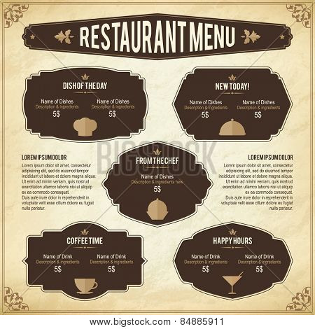 Restaurant menu design. Retro style