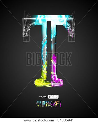 Vector Design Light Effect Alphabet. Letter T on a Black Background.