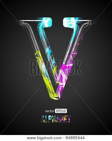 Vector Design Light Effect Alphabet. Letter V on a Black Background.