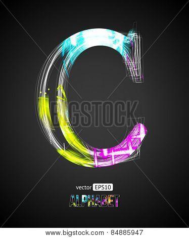 Vector Design Light Effect Alphabet. Letter C on a Black Background.