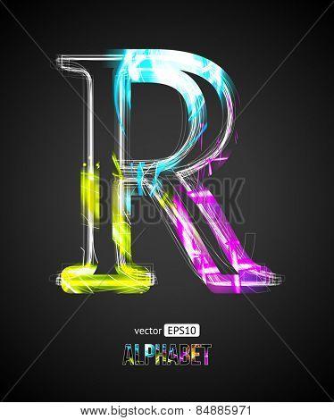 Vector Design Light Effect Alphabet. Letter R on a Black Background.