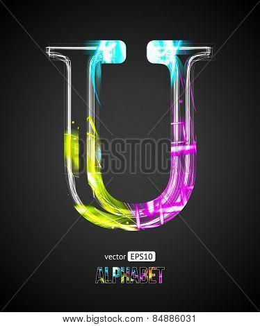 Vector Design Light Effect Alphabet. Letter U on a Black Background.