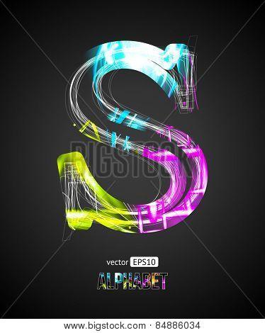 Vector Design Light Effect Alphabet. Letter S on a Black Background.
