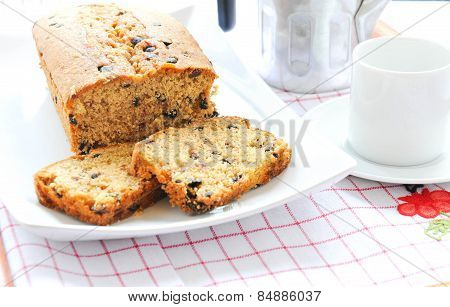 Plum cake with cocoa apple and fruit