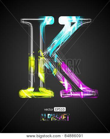Vector Design Light Effect Alphabet. Letter K on a Black Background.