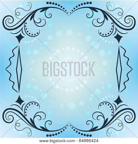Winter ornate frame with blue copy space.