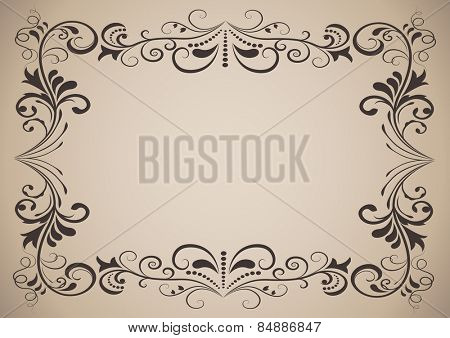 Horizontal vintage ornamental frame with copy space.
