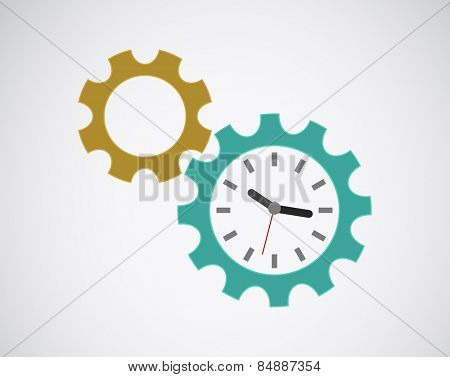 gears cog clock icon design