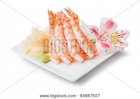 shrimp sashimi with withe plate isolated on white background