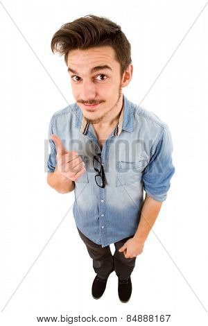 young casual man full body going thumbs up, isolated on white background
