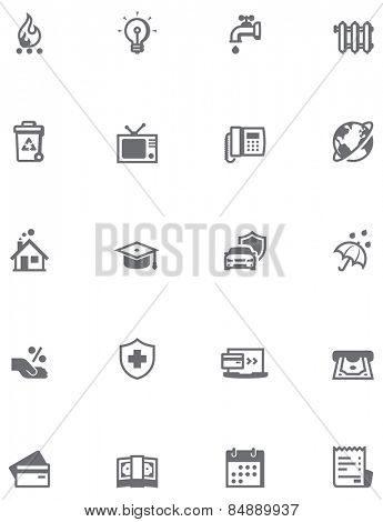 Paying bills icon set