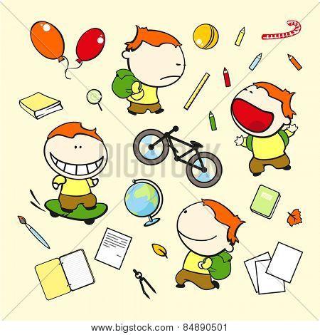 Funny kids #71 - schoolboy (raster version)
