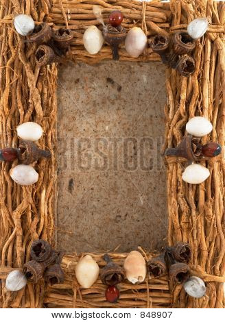 Empty wood photo frame