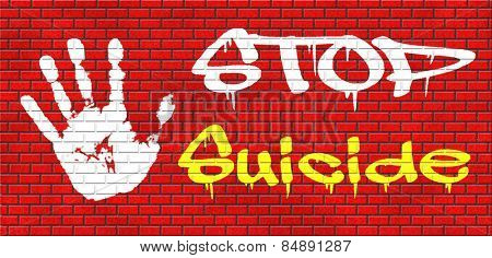 suicide prevention campaign to help suicidal people graffiti on red brick wall, text and hand