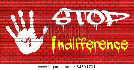 indifference indifferent and ignorant care about show compassion give a helping hand or charity donation get involved and show involvement and concern graffiti on red brick wall, text and hand