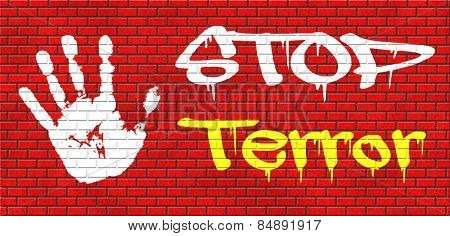no more terror stop violence terrorism and war graffiti on red brick wall, text and hand
