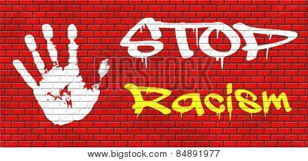 no racism stop discrimination based on race religion gender or sexuality equal opportunity equal rights graffiti on red brick wall, text and hand