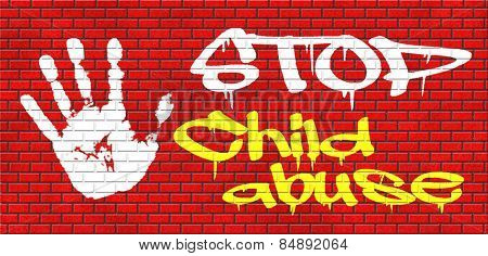 stop child abuse and neglection or violence toward children they need protaction against physical and psychological harassment graffiti on red brick wall, text and hand