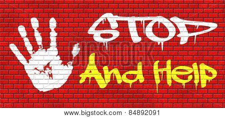 stop and help give a helping hand solidarity and give charity graffiti on red brick wall, text and hand