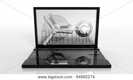 Bank safe on laptop screen isolated on white