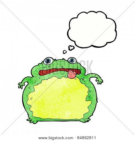 cartoon funny frog with thought bubble