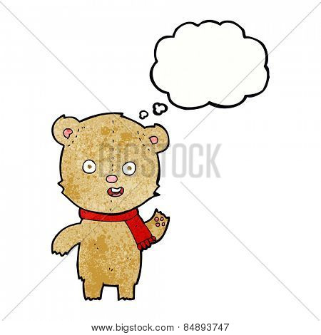 cartoon waving teddy bear with scarf with thought bubble